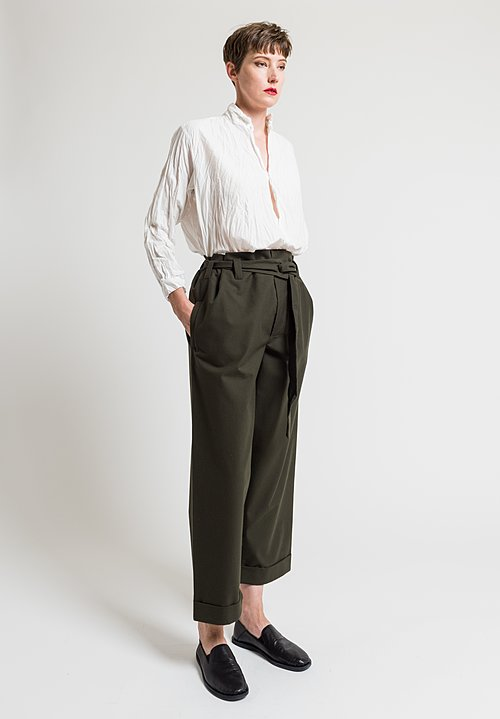 Daniela Gregis Cotton Twill Operaio Pants in Dark Green