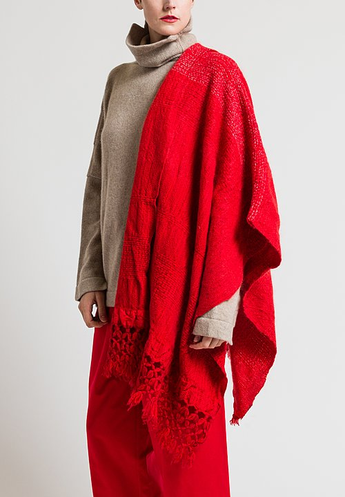 Daniela Gregis Cashmere Woven Currant Shawl in Red