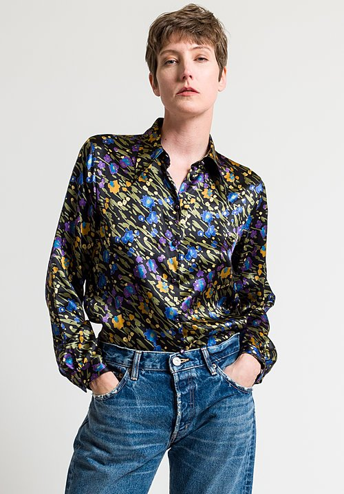 Etro Silk Floral Print Shirt in Black
