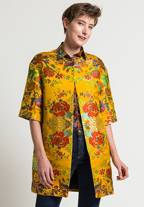 Etro Chinoiserie Flowers & Birds Jacket in Marigold