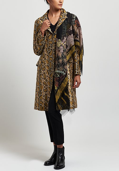 Etro Leopard Snake Notch Lapel Coat in Yellow