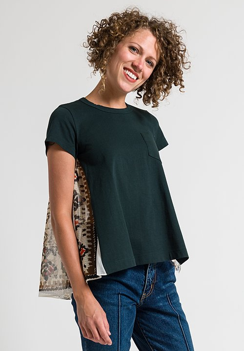 Sacai Intricate Printed Back Top in Green