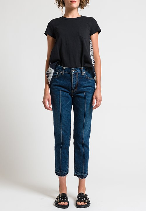 Sacai Pintuck Distressed Hem Jeans in Blue