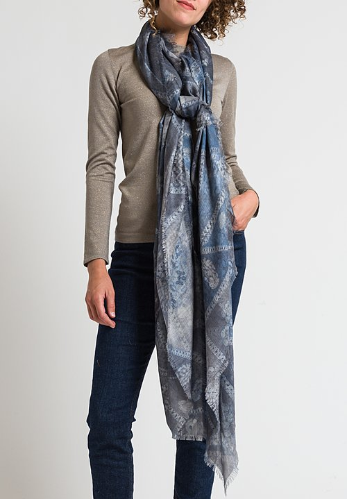 Alonpi Printed Scarf in Paco Blue