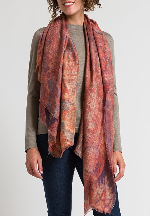 Alonpi Printed Scarf in Farrah Red