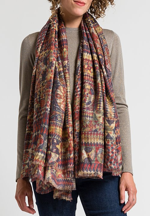Alonpi Printed Scarf in Pora Multi