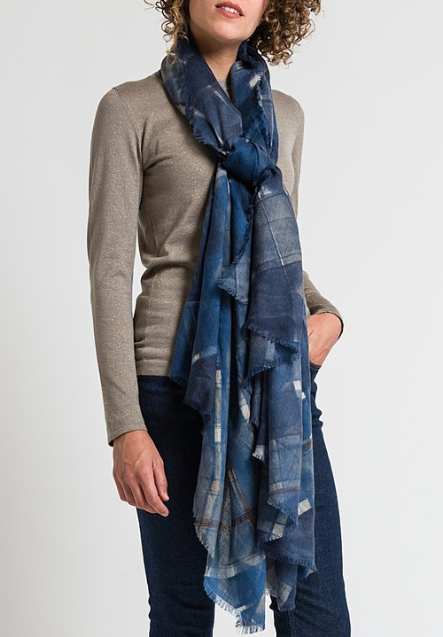 Alonpi Hand-Painted Scarf in Miele Blue