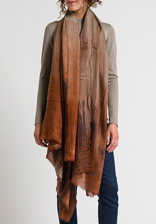 Alonpi Lotus Printed Scarf in Brown