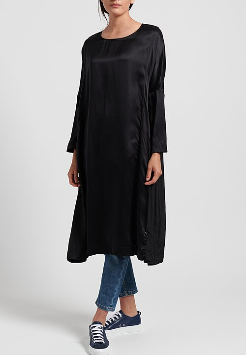 Casey Casey Washed Silk Ruche Dress in Black