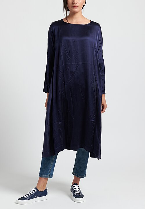 Casey Casey Washed Silk Ruche Dress in Navy