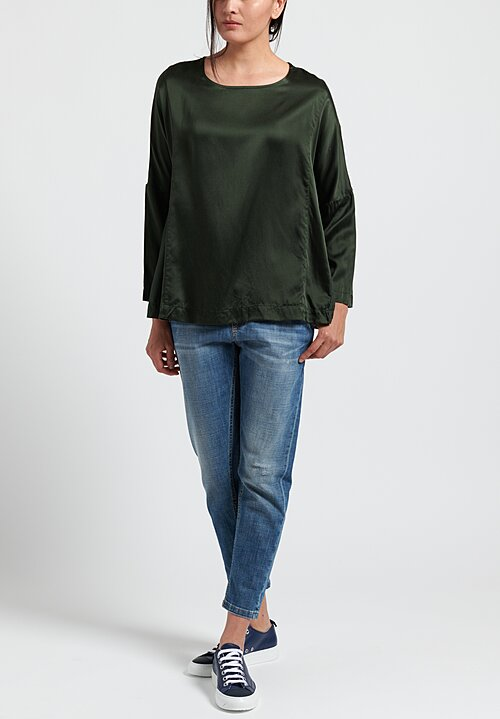 Casey Casey Washed Silk PYJ Short Top in Moss