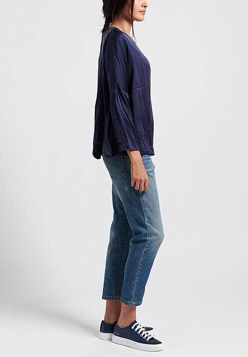 Casey Casey Washed Silk PYJ Short Top in Navy