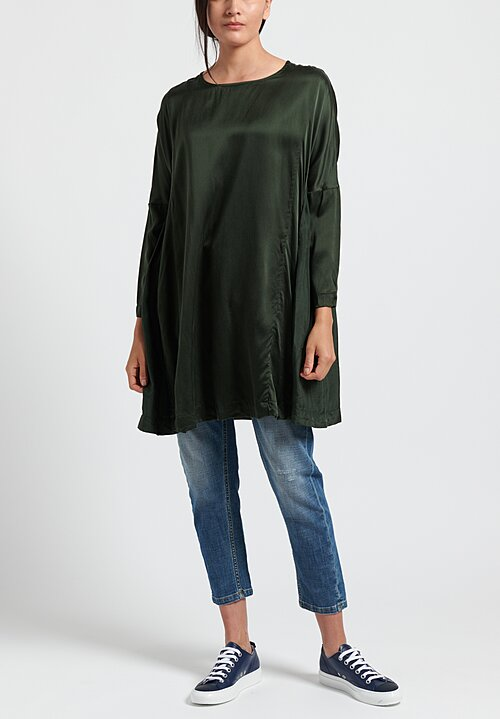 Casey Casey Washed Silk PYJ Ruche Top in Moss
