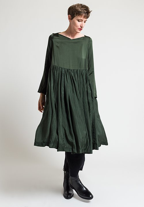 Casey Casey Washed Silk Enfantine Dress in Moss