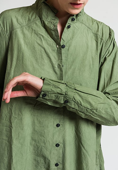 Rundholz Dip Oversized Button-Down Tunic Dress in Green