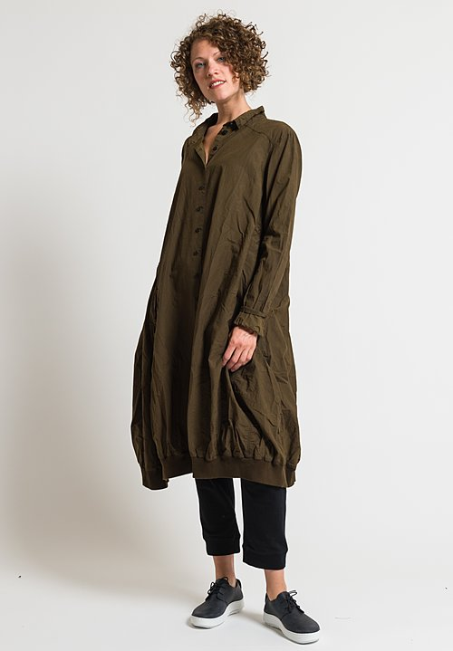 Rundholz Dip Oversized Button-Down Tunic Dress in Khaki