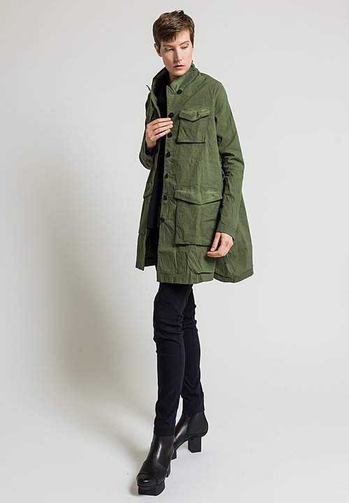 Rundholz Dip Long Stand Collar Long Jacket in Green