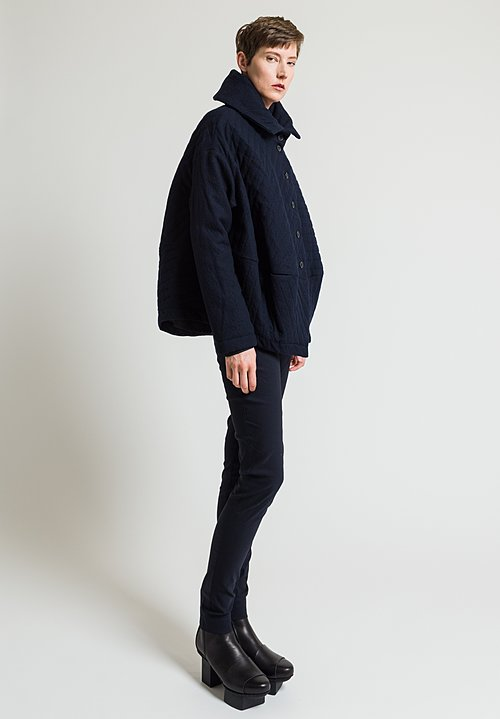Rundholz Quilted Coat in Dark Blue