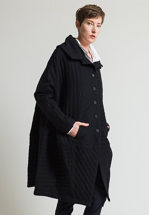 Rundholz Long Quilted Coat in Black