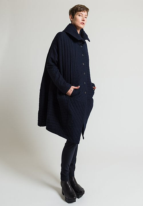 Rundholz Long Quilted Coat in Dark Blue