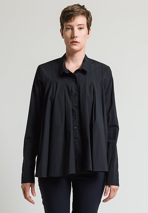 Rundholz Front Pleated Shirt in Black