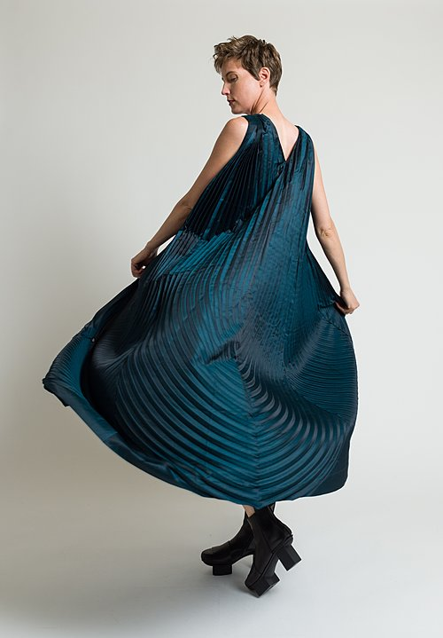 Issey Miyake Horn Pleats Dress in Teal