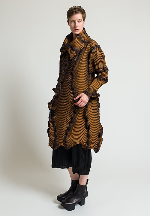 Issey Miyake Long Pleated Ram Jacket in Copper/ Navy