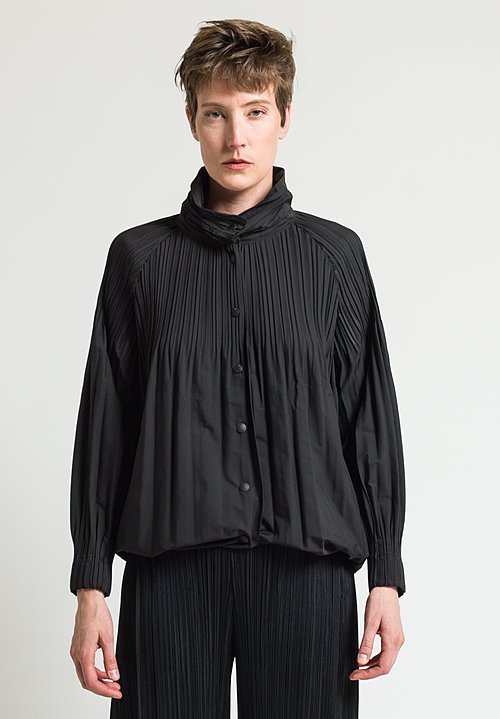 Issey Miyake Pleats Please Button Down Jaunty Jacket in Black