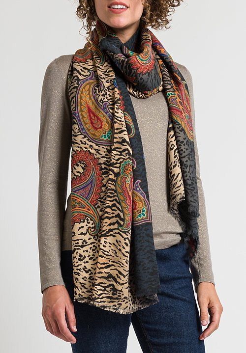 Etro Paisley & Jaguar Print Scarf in Black/ Natural