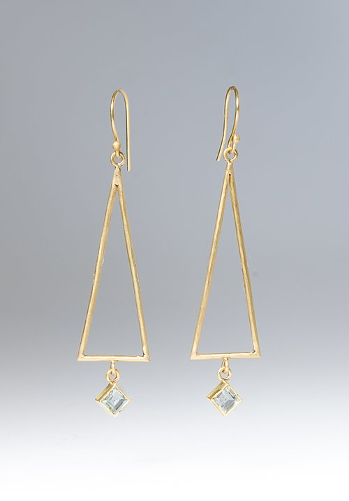 Margery Hirschey White Sapphire Triangle Earrings