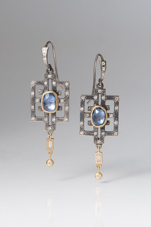 Annie Fensterstock Diamond Sapphire Earrings