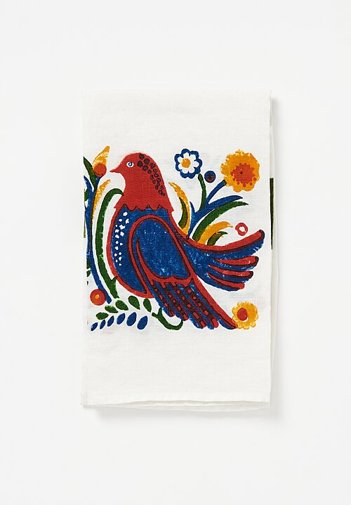 Bertozzi Handmade Linen Kitchen Towel with Blue