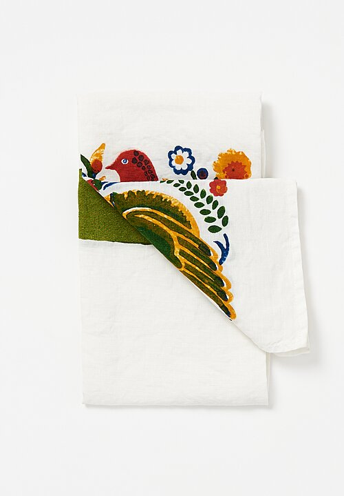 Bertozzi Handmade Linen Kitchen Towel with Budgies