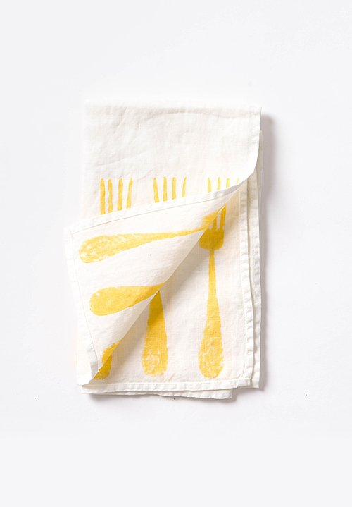 Bertozzi Handmade Linen  Kitchen Towel with Yellow Forks