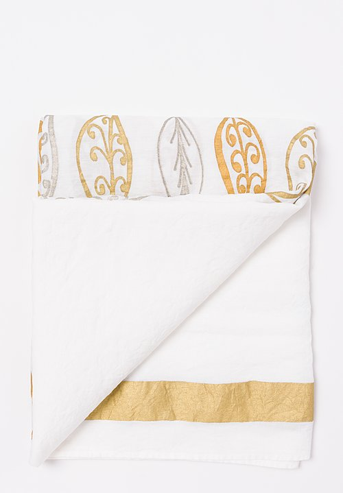 Bertozzi Handmade Linen Tablecloth with Leaves