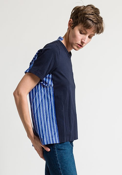 Sacai Poplin Pleated Back Top in Blue Striped