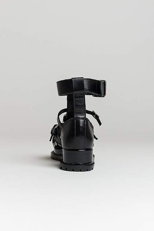 Sacai Cowhide Buckle Sandal in Black