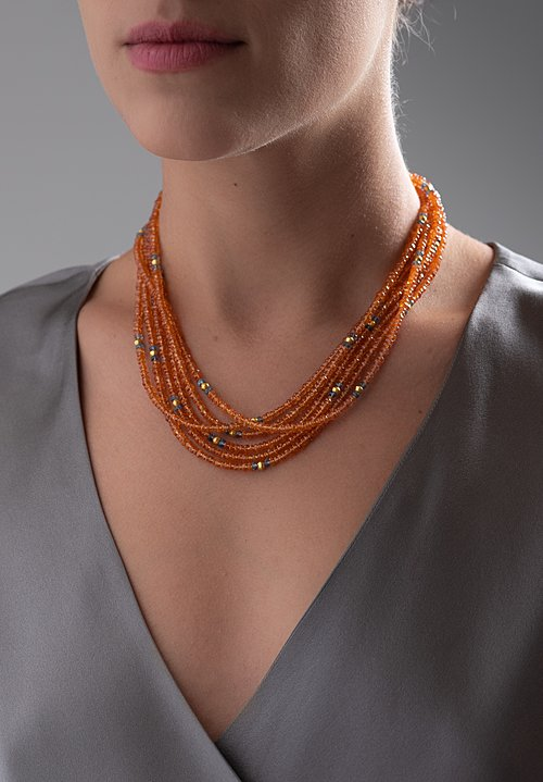 Greig Porter 18K, Mandarin Garnet and Aquamarine 3 Strand Necklace