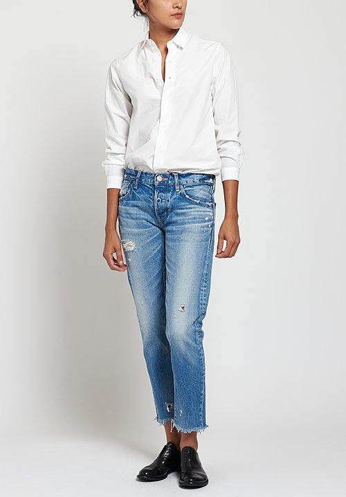 Moussy MV Kelley Tapered Leg Jeans in Light Blue