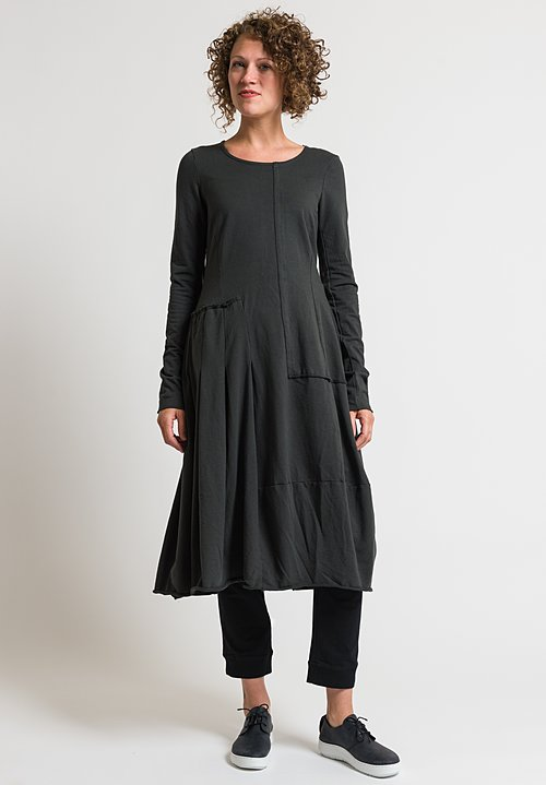 Rundholz Black Label Pleated Patchwork Dress in Anthra