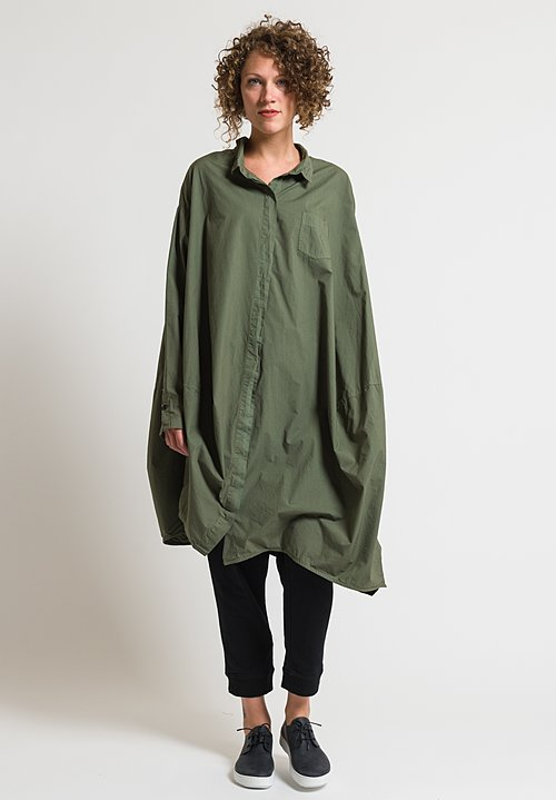 Rundholz Black Label Oversized Placket Shirt Dress in Vert