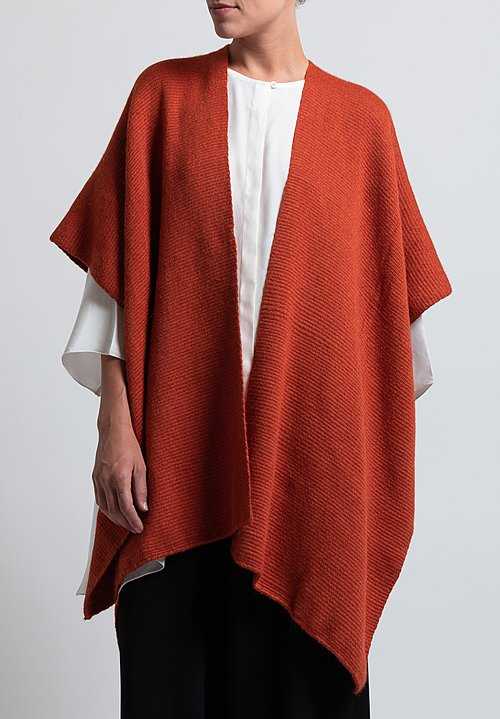 VOZ Hand Woven Alpaca Poncho in Burnt Orange