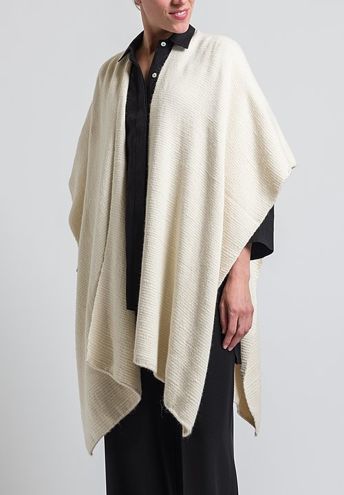 VOZ Baby Alpaca Hand Woven Poncho in Ivory