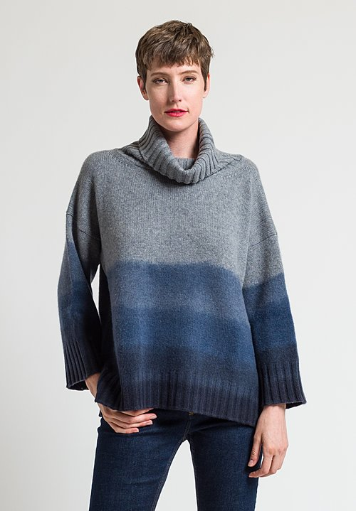 Alonpi Cashmere Hand-Painted Turtleneck Puny Sweater in Blue