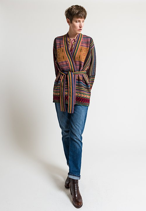 Etro Belted Geometric Knit Cardigan in Mauve