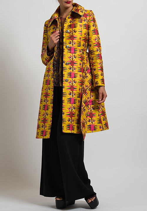Etro Belted Floral Pattern Coat in Yellow