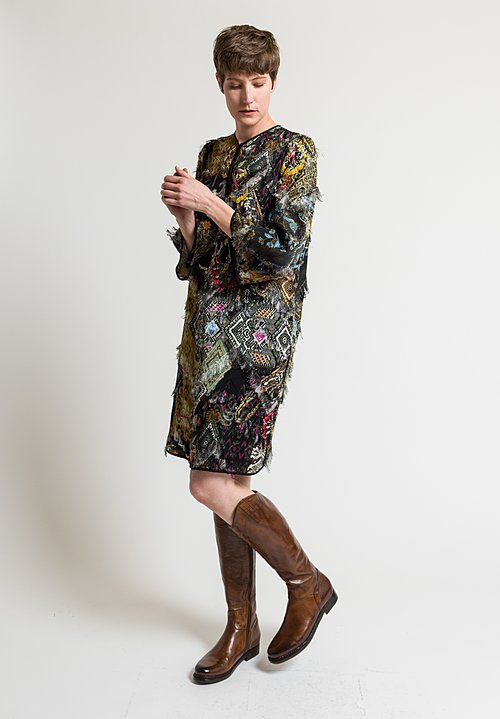 Etro Frayed Paisley Printed Tunic in Black