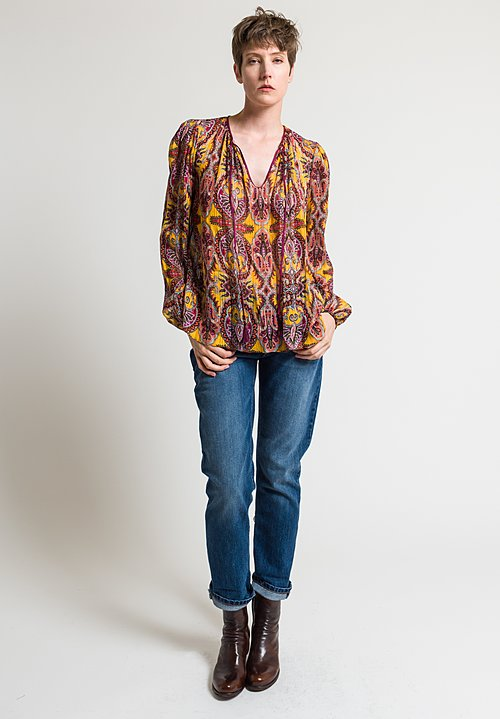 Etro Jacquard Paisley Printed Peasant Top in Yellow