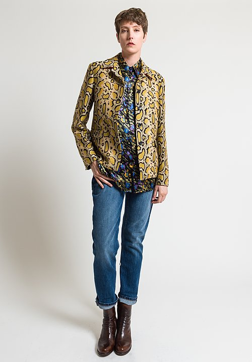 Etro Leopard Snake Jacket in Yellow