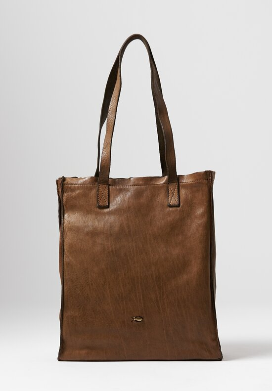 Campomaggi Leather Shopping Tote in Pearl Grey